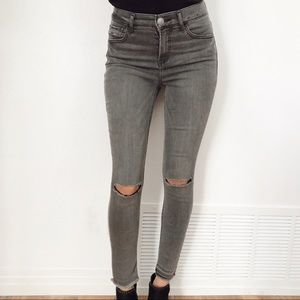 Gray wash high rise skinny jeans